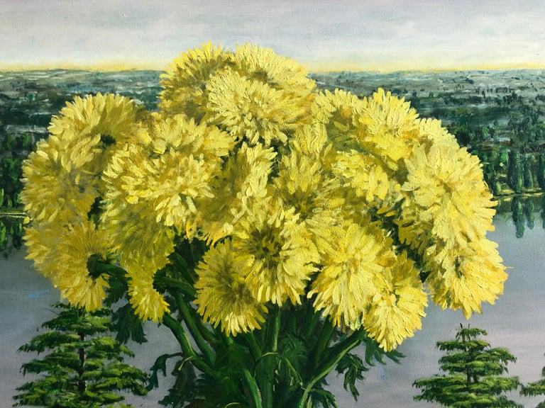 Still Life Yellow Chrysanthemums With Oranges Oil Painting For Sale 2