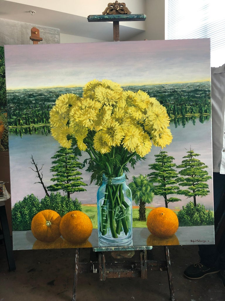 Still Life Yellow Chrysanthemums With Oranges Oil Painting For Sale 3