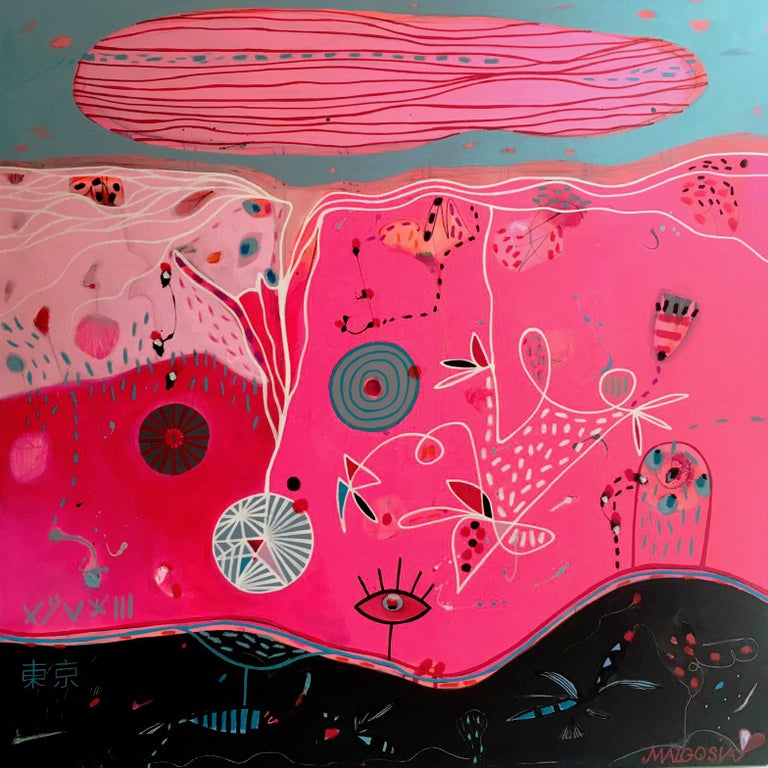Malgosia Kiernozycka Figurative Painting - Good Morning Tokyo Pink Abstract