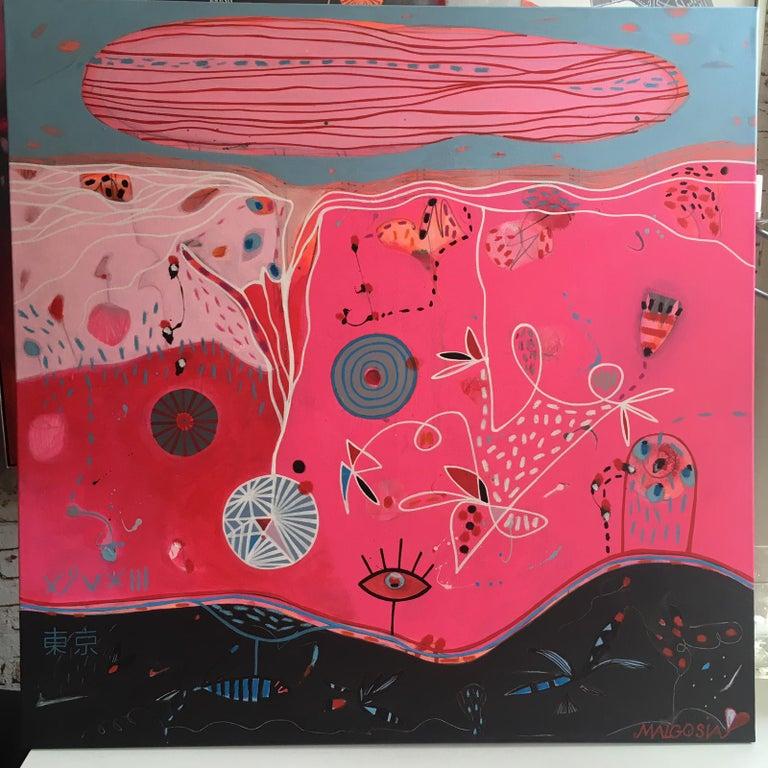 Good Morning Tokyo Pink Abstract - Painting by Malgosia Kiernozycka