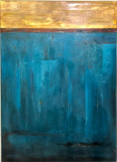 Golden Sky Blue and Gold Abstract Composition