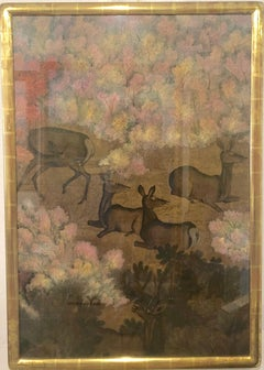 Reindeer In Forest Chinese Modern Painting artist Ma Hai Feng