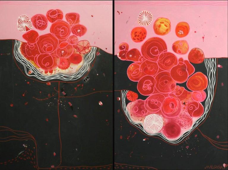 Malgosia Kiernozycka Figurative Painting - Blood Love Diptych