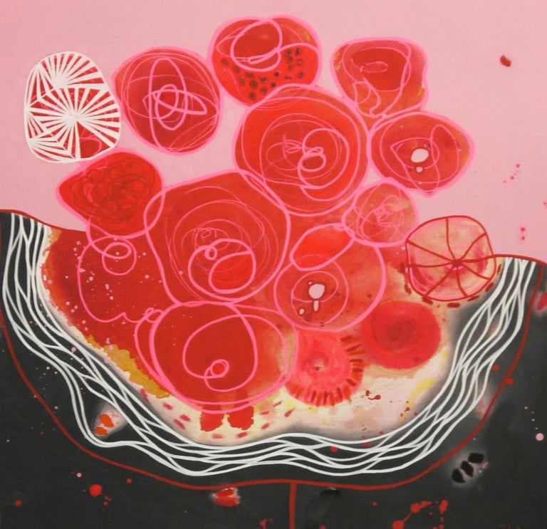 Blood Love diptych,  acrylic on canvas, each painting 31x47x1. Malgosia Kiernozycka was born in Wroclaw, Poland. She graduated high school at the School of Fine Arts and received a scholarship from the Minister of Culture and Art for the University