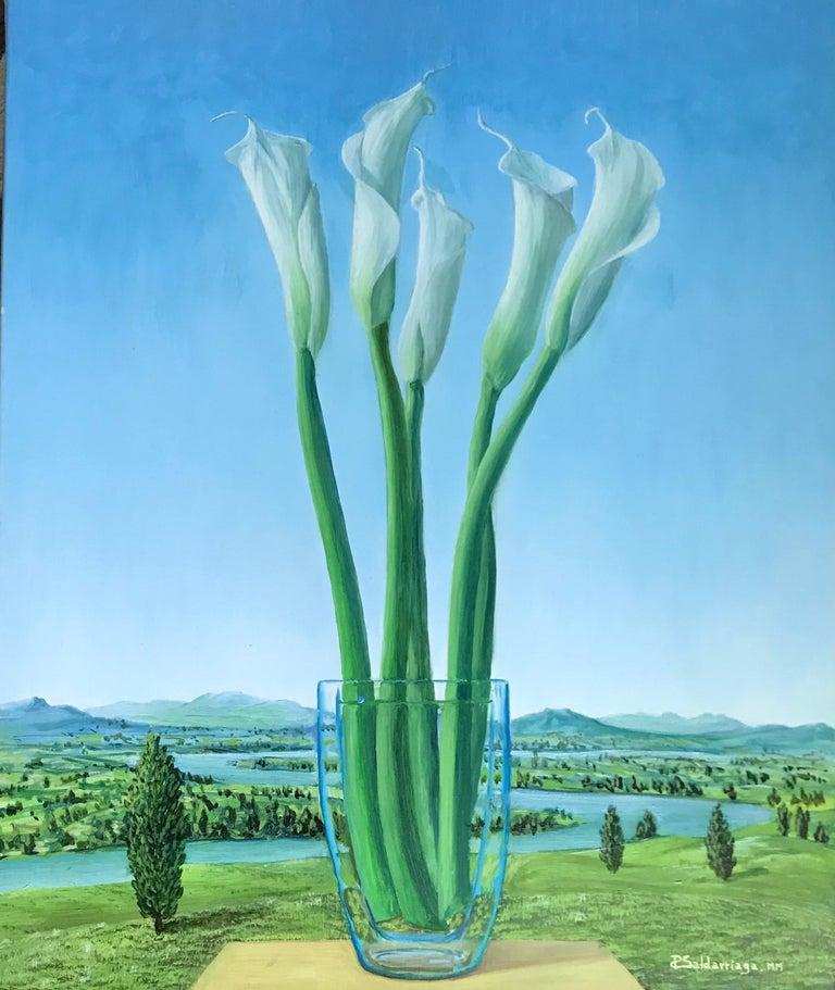 Rafael Saldarriaga Still-Life Painting - Calla Lily Cartuchos En Paisaje