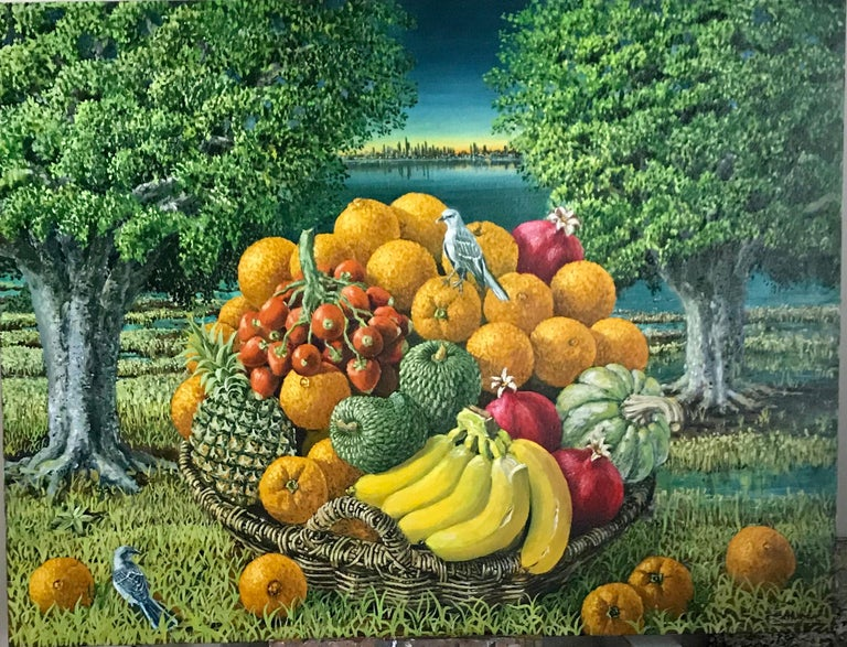 Rafael Saldarriaga Landscape Painting - Large Landscape with Trees And Fruit Basket
