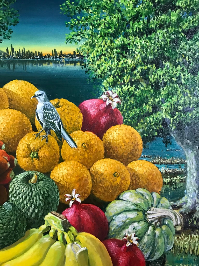 Large Landscape with Trees And Fruit Basket - Painting by Rafael Saldarriaga