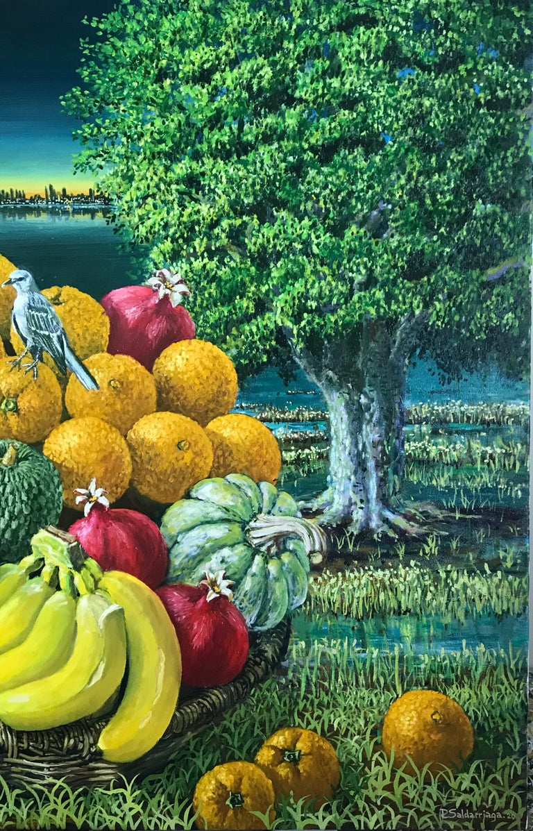 Large Landscape with Trees And Fruit Basket - Pointillist Painting by Rafael Saldarriaga