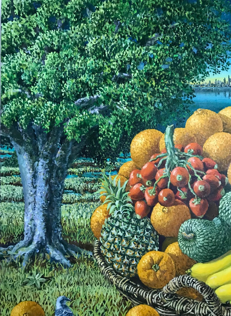 Large Landscape with Trees And Fruit Basket - Black Landscape Painting by Rafael Saldarriaga