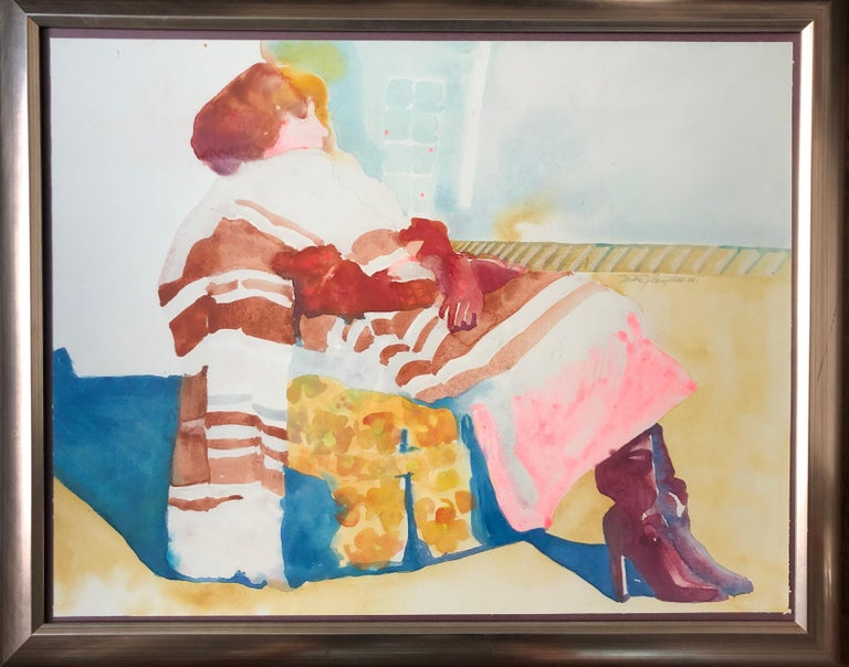 Woman In The Chair  - Beige Figurative Art by Sandra Jones Campbell