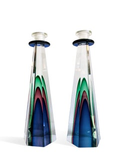 Murano Art Glass Candlesticks by Luigi Onesto for Oggetti