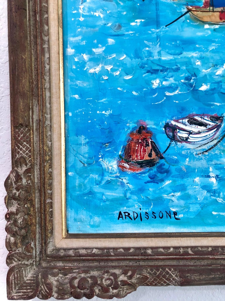 Boats In Port Of Carnac Brittany - Painting by Yolande Ardissone