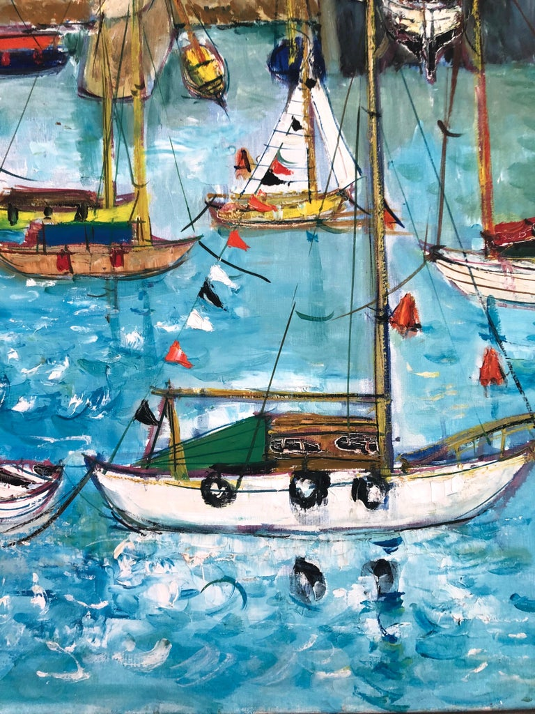 Boats In Port Of Carnac Brittany - Expressionist Painting by Yolande Ardissone