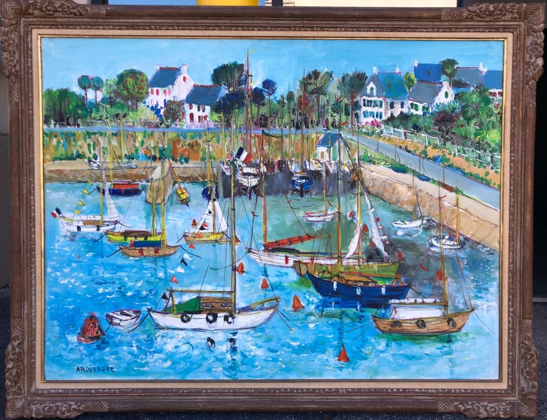 Yolande Ardissone  Landscape Painting - Boats In Port Of Carnac Brittany