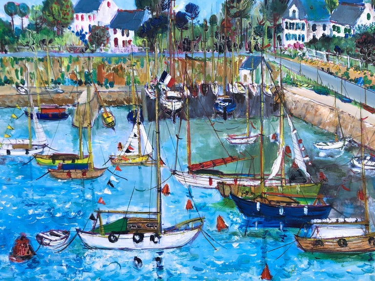 Boats In Port Of Carnac Brittany - Gray Landscape Painting by Yolande Ardissone