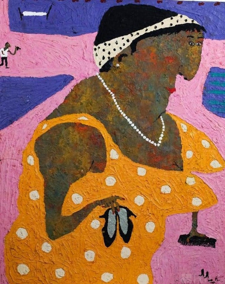 Elisabeth Sabala Figurative Painting - Woman With Shoes