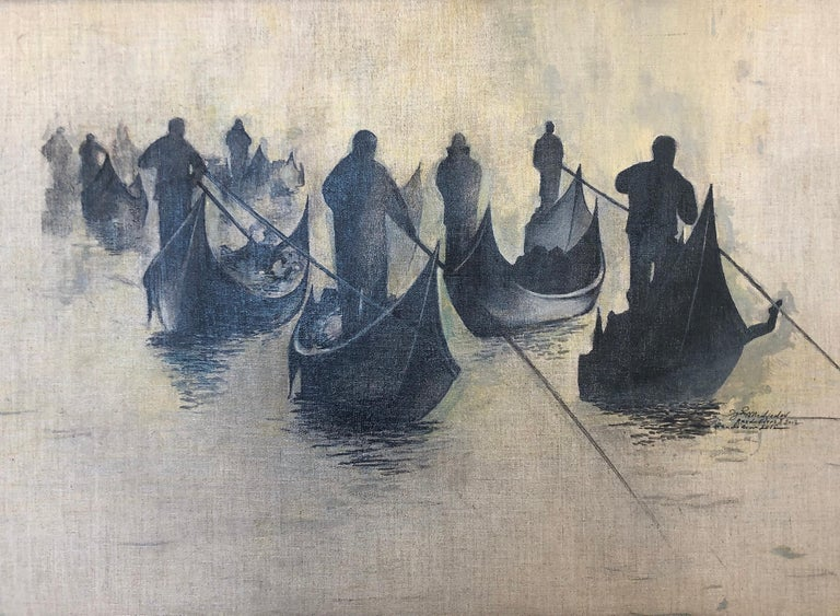 Black and Gray Gondoliers Group I - Painting by Igor Medvedev