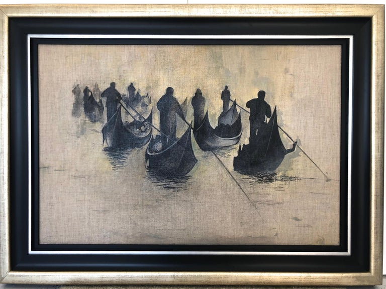 Gondoliers Group, signed, dated and titled on verso, framed.  Igor Medvedev Russian Artist: b. 1931-2015. Igor Medvedev was born in Novopskov city in the Lugansk region of Eastern Ukraine. He graduated from the Moscow Institute of Electronic