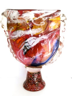 Large Multi Color Art Glass Footed Vase