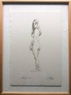 Pencil Drawing Standing Nude