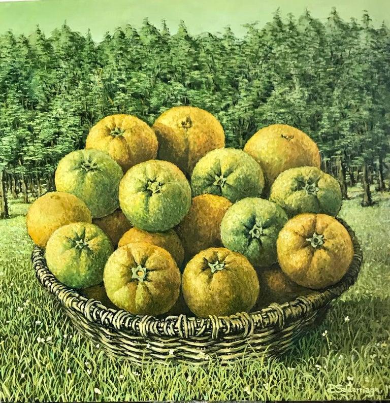 Rafael Saldarriaga Figurative Painting - Still Life With Basket Of Oranges