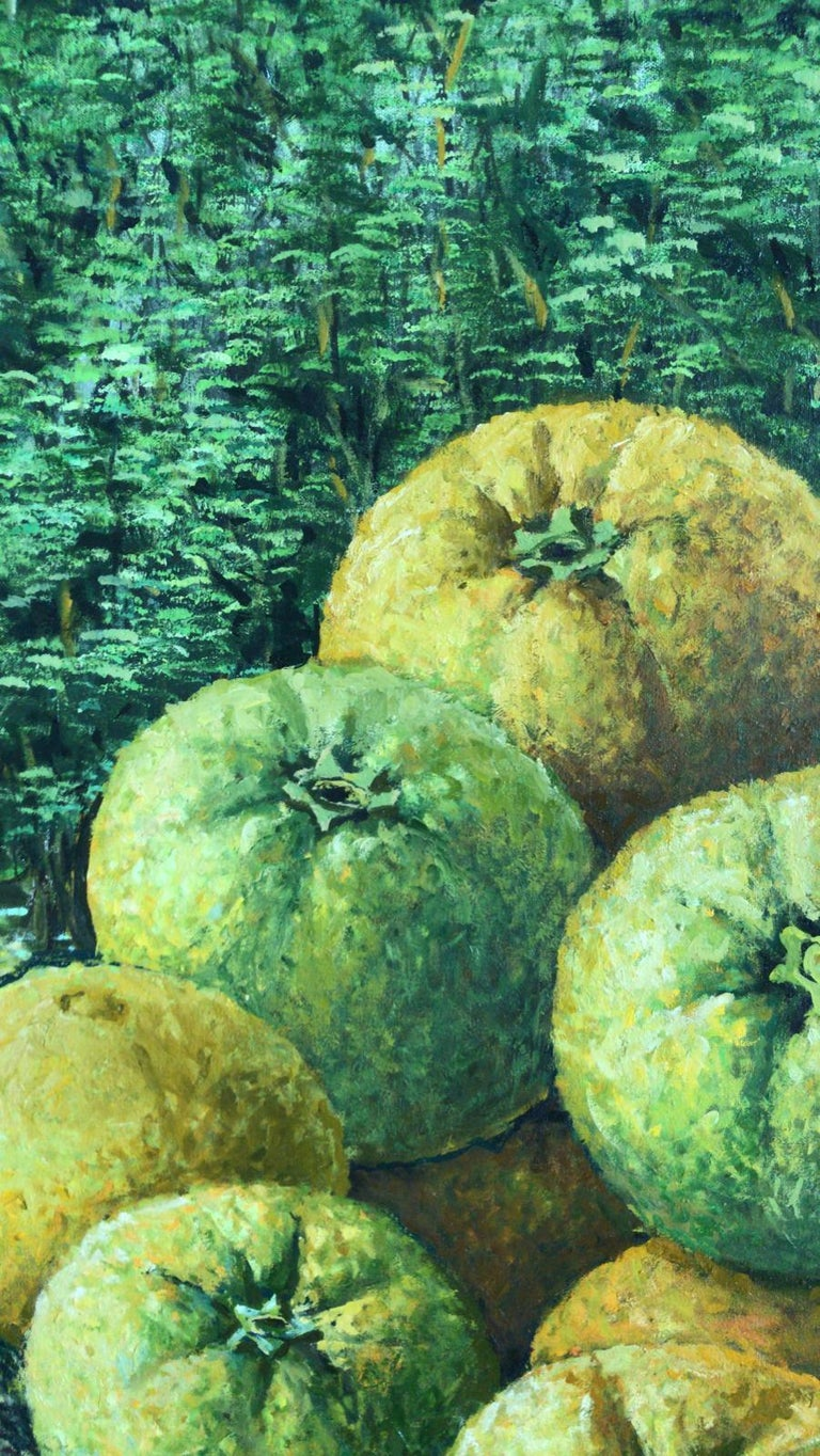Still Life With Basket Of Oranges  - Painting by Rafael Saldarriaga
