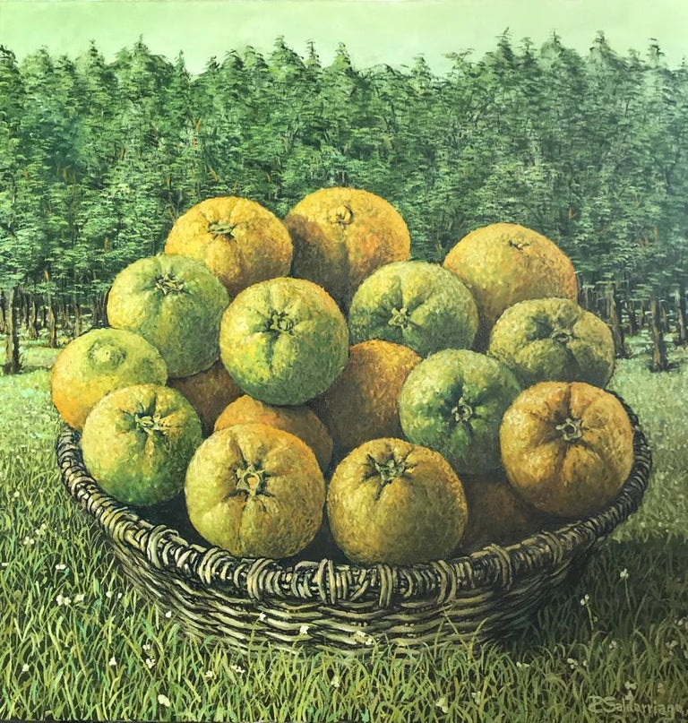Still Life with basket of oranges in the landscape. RAFAEL SALDARRIAGA was born in Medellin, Colombia in 1955. Arrived in the United States in 1993. After living in New Mexico and Hawaii established his residency in New York City. He studied in