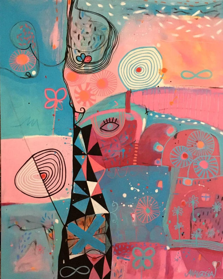Malgosia Kiernozycka Abstract Painting - Tower Of Sighing Pink Blue Abstract