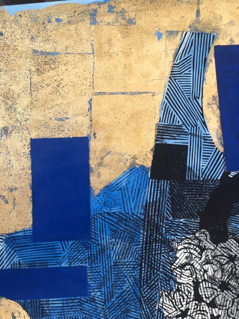 From the series, The Branches Keep Dancing Mixed Media on paper woodblock, acrylic, gold leaf, on paper, unframe 27.5x19.5 Julien Gil Vega contemporary Cuban artist born on July 14, 1982, in Havana City. From 2001 to 2008 He studied at the Heriberto