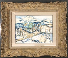 Impressionist Landscape with Mountain View work on paper