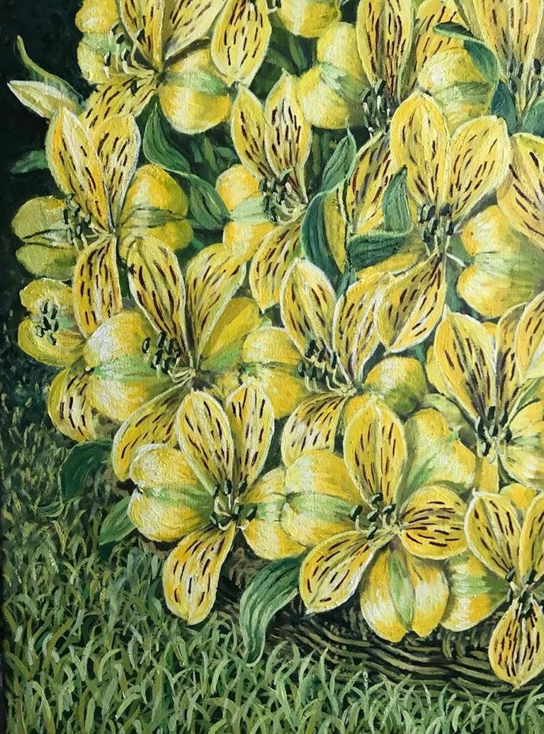 Alstroemeria Yellow Lilys  - Painting by Rafael Saldarriaga