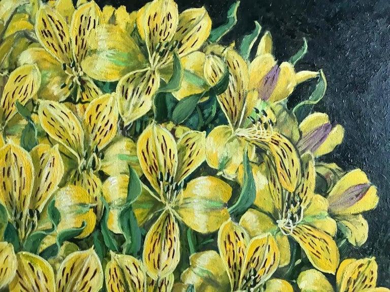 Alstroemeria Yellow Lilys  - Expressionist Painting by Rafael Saldarriaga
