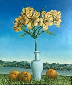 Still Life Lillies With Oranges In The Landscape