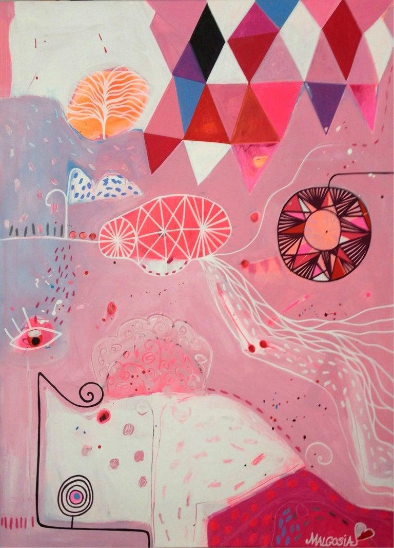 Malgosia Kiernozycka Abstract Painting - Queen Of Pink Night