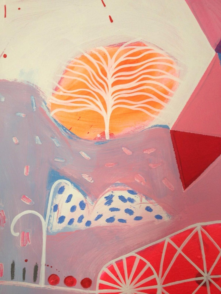 Queen Of Pink Night - Brown Abstract Painting by Malgosia Kiernozycka