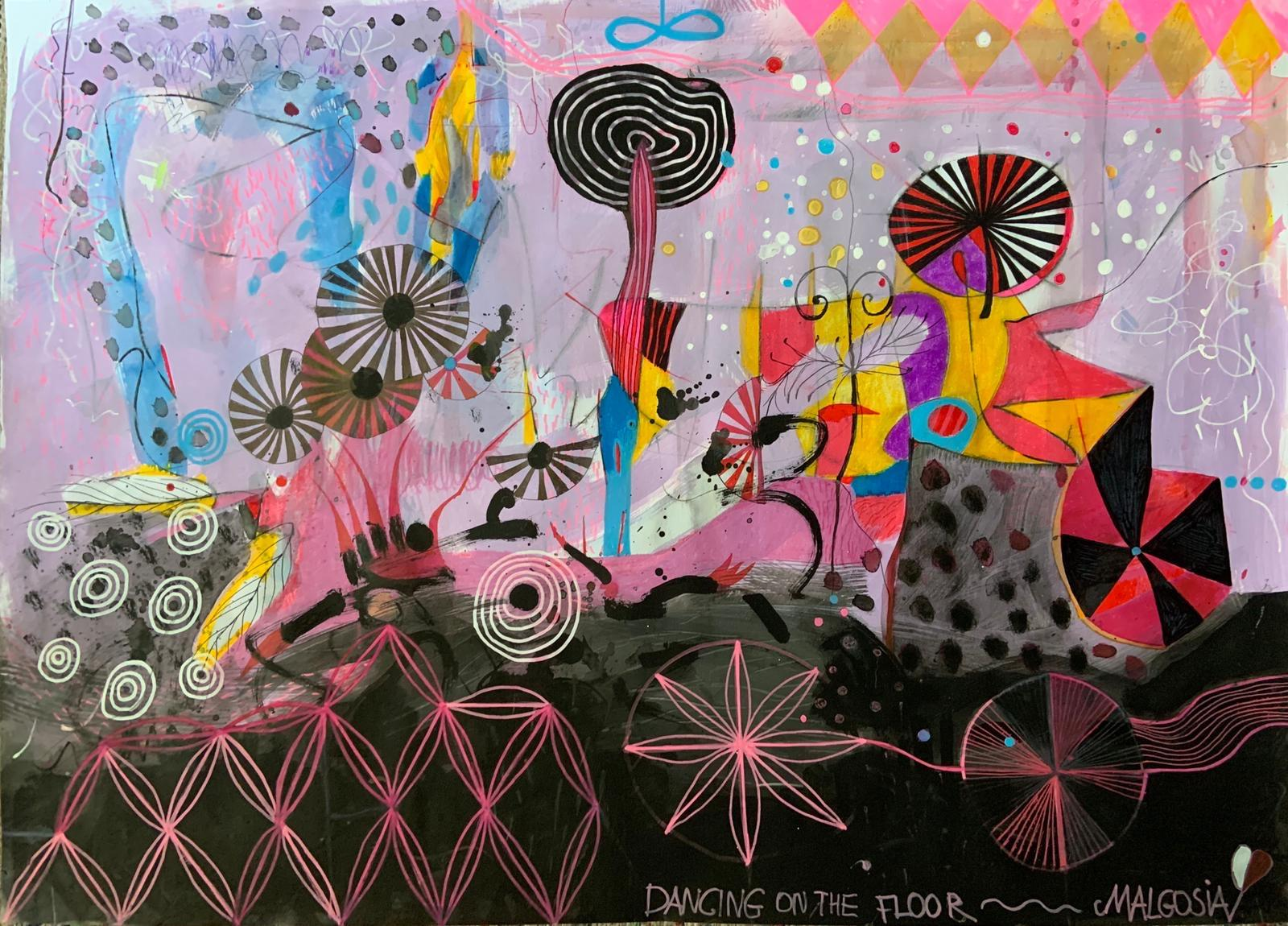 Dancing On The Floor Mixed Media on paper Abstract
