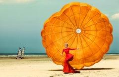 Nadja Auermann - colorful portrait of the supermodel on a beach
