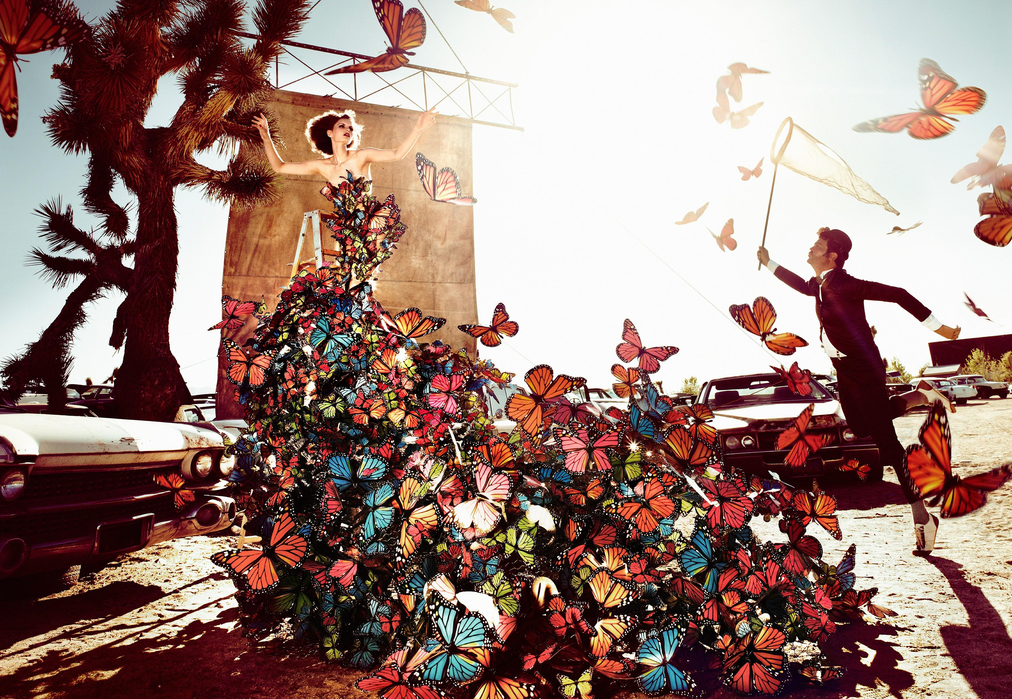 Butterfly - surreal fairytale portrait of two models