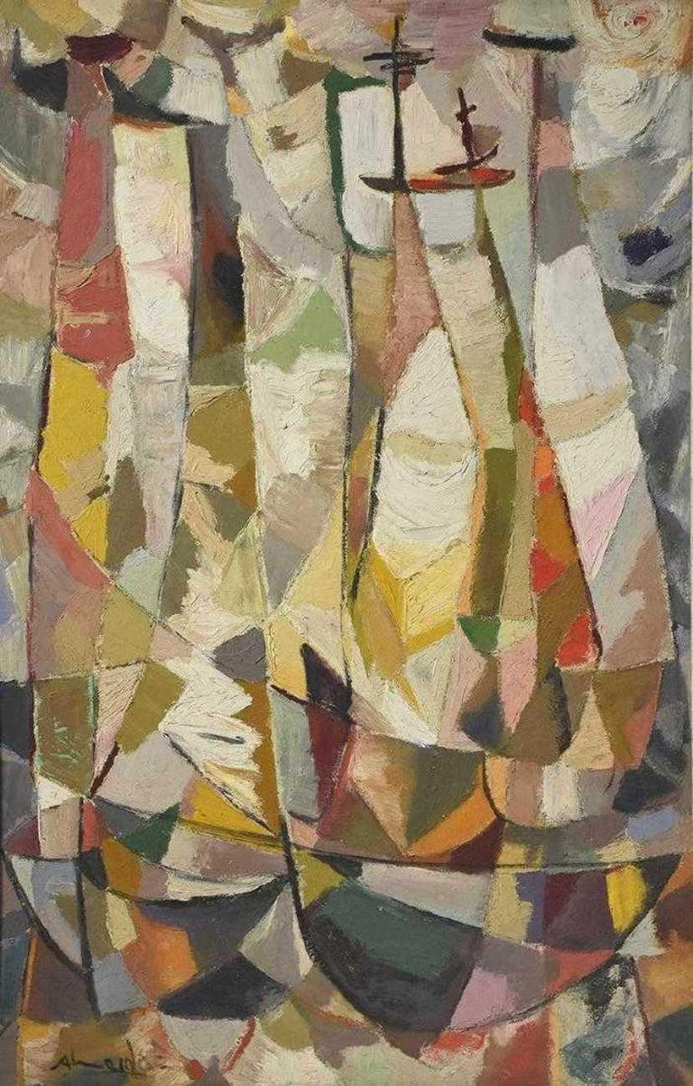 Almeida Egas Abstract Painting - Cubist Composition