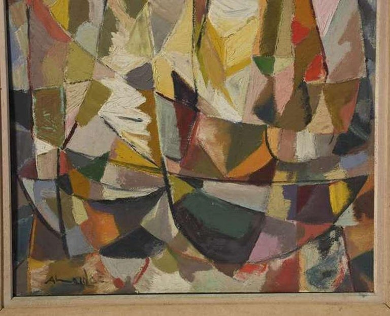 Cubist Composition - Brown Abstract Painting by Almeida Egas