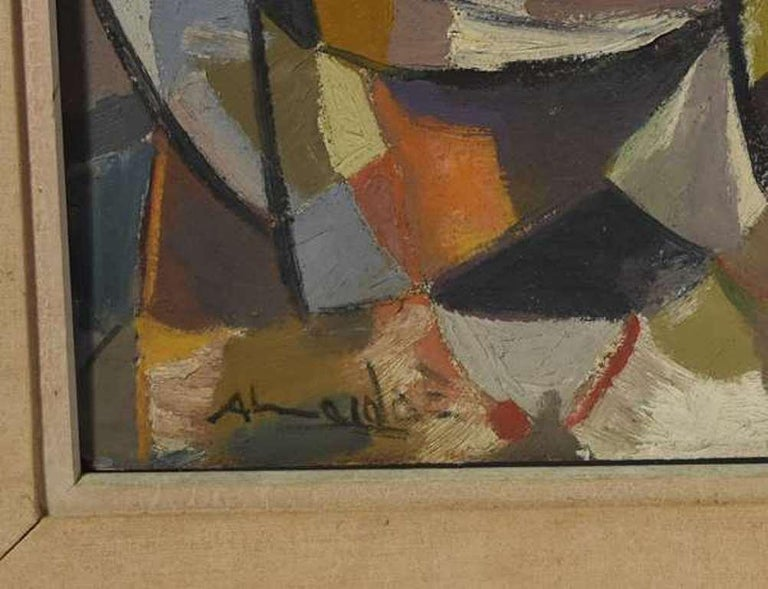 Fine Post-Cubist composition by Latin American listed artist Almeida Egas . Almeida exhibited at the Sao Paulo Biennals, at the museum of the Pan American Union in Washington and gained international recognition during his lifetime , yet remains to