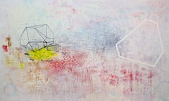 Backyard, Large Horizontal Abstract Painting, White Red Yellow Geometric Shapes