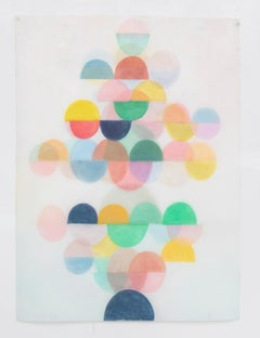 Untitled One, Vertical Abstract Drawing with Multicolored Layered Half Circles