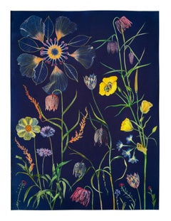 Cyanotype Painting Fritillarias, Cosmos, Buttercup, Botanical Painting on Blue