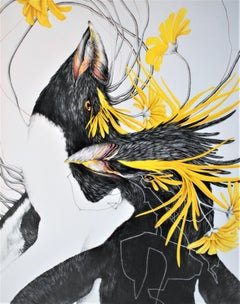 Yolk, Vertical Drawing of Yellow Black Birds, Penguins and Yellow Flowers
