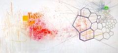 Hallelujah, Large Horizontal Abstract Painting in White, Pink, Orange, Navy Blue