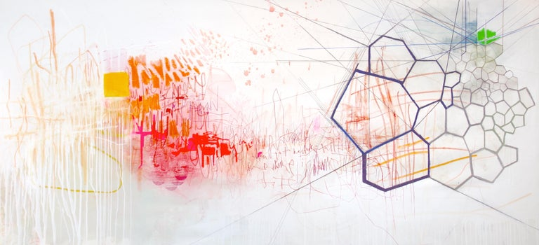 This large-scale abstract horizontal painting is at once meditative, in a serene palette of white and ivory with elements of bright orange, deep, vibrant hot pink with a hint of pale green in the corner, and visually exciting, with geometric