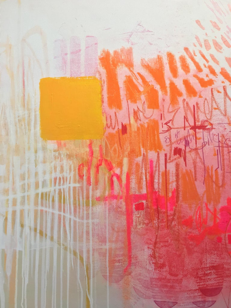 Hallelujah, Large Horizontal Abstract Painting in White, Pink, Orange, Navy Blue For Sale 2