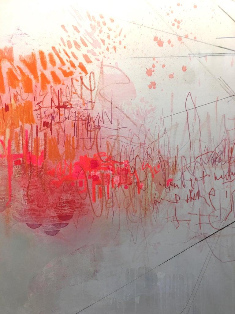 Hallelujah, Large Horizontal Abstract Painting in White, Pink, Orange, Navy Blue For Sale 3