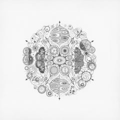 Snowflakes 146 Joy, Mandala Pencil Drawing with Butterflies